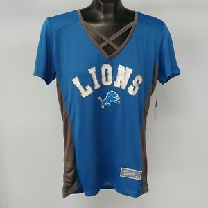 NEW! NFL Team Apparel Lions Fitted Cross Neck Jersey, Women's Sizes S-L, Blue