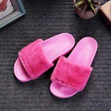 New Womens Lady Slipper Slip On Sliders Fluffy Fur Slippers Flip Flop Sandals
