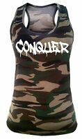 Junior's Conquer Camo Tank top Workout Fitness Exercise Gym Yoga T Shirt V275