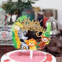 wild animal lion zebra giraffe monkey cake decor topper birthday party supplies`