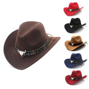 Australian Suede Leather Cowboy Hat Western Wide Brim Bush Hat 6 Colors