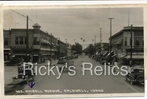 B&W RPPC CALDWELL ID Street Scene Kimball Avenue IDAHO 1920s