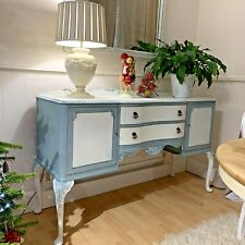 Vintage Sideboard White & Duck Egg Blue Bowed Front Queen Anne Style Ornate