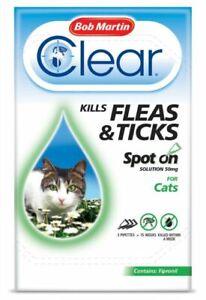 Bob Martin Clear Spot On Kills Fleas Ticks Treatment for CATS 3 Pipettes