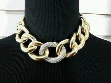 Vintage GIVENCHY Goldtone Chain Link Choker Necklace Runway Rhinestone