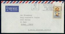 New ListingAustralia 1992 South Eastern Mail Centre slogan to Texas Usa Cover wwi 3185