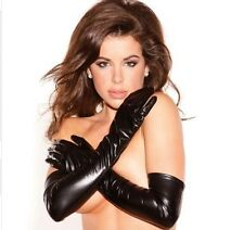 Sexy Wet Leather PVC Look Longer Gloves Night Party Fetish Lengeries, UK Seller