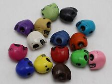50 Mixed Color Acrylic Halloween Gothic Skull Beads 13mm