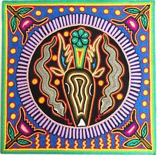 "12"" Mexican Huichol Deer and Peyote yarn painting 30 - 006 F"