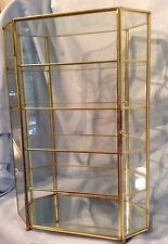 "Brass Curio Cabinet Lockable 16.25"" Mirrored Base 4 shelf/5 space Tabletop $219"