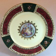 Very Rare! JKW / Rosenthal Fragonard Red/Green/Gold Cabinet Plates x 2 set