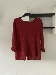 Fat Face Knit Jumper, Crochet Style, Buttons To Back, Rust, Size 10