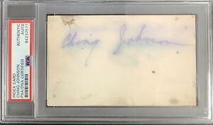 Ching Johnson Signed Index Card NHL Hockey HOF NY Rangers Autograph PSA/DNA