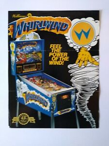 Williams Whirlwind Pinball FLYER Original Artwork Print Sheet 1990 Folds Stamp