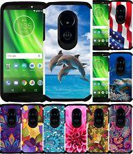 For Motorola Moto E5 Phone Case Colorful Design Hybrid Bumper Protective Cover