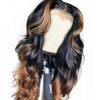 150% Wavy Brazilian Full Lace Front Virgin Human Hair Wigs Ombre 1BT30 Glueless