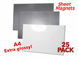 25 PACK | A4 Sheet Magnets | WHITE GLOSS | Magnetic Photo Paper | Whiteboard