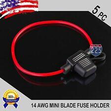 5 Pack 14 Gauge APM / ATM MINI Blade Inline Fuse Holder 100% OFC Copper Wire US