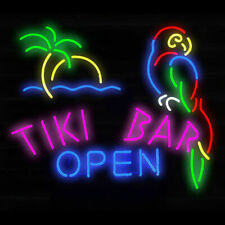 """Tiki Bar Open Neon Light Sign Lamp 19"""" Beer Glass Decor Gift Real Signs"""