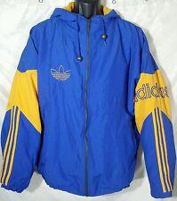 80s ADIDAS Hooded Jacket UCLA Colors Vintage Coat Blue Yellow Men's SZ XL Track