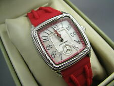New/Box JUDITH RIPKA STAINLESS STEEL Red Silicone WRIST WATCH SILVER ROPE CASE