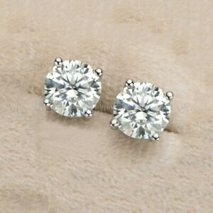 Solid 14k White Gold Moissanite Solitaire Stud Earrings 3 CT Round Brilliant Cut