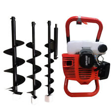 52cc Post Hole Digger Gas Powered Earth Auger Borer Fence Ground Drill3 Bits