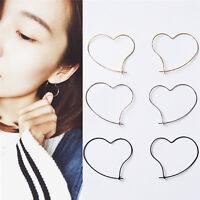 Fashion Womens' Simple Earing Jewelry Heart Design Hoop Earring Girl Gifts P0CA