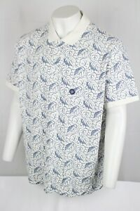 Lands' End Men's Traditional Fit Polo Short Sleeve Size 2XL 50-52 White Blue