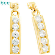 Simulated Diamond 9ct Solid Yellow Gold Drop Earrings 53800