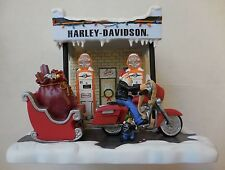 Harley-Davidson Motorcycle Motor Oil Gas Station Pumps Santa Claus Figurine RARE