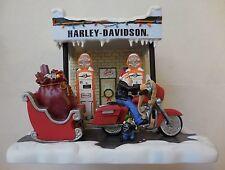 Harley-Davidson Motorcycle Motor Oil Gas Station Pumps Santa Claus Figurine RARE