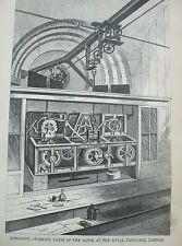 Antica Stampa 1854 Incisione orologeria Orologio di lavoro alla Royal Exchange di Londra