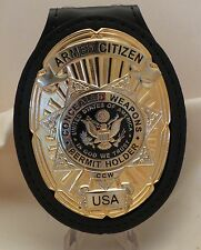 Oval and Star CCW Badge for the Armed Citizen USA on leather belt clip