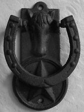 Horse Head and Star Door Knocker, Cast Iron Western Rustic Metal Look Door Knock