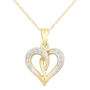 9ct Yellow Gold Necklace Diamond Twist Heart Pendant Women's Necklace by Elegano