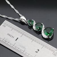 Emerald & Topaz  925 Sterling Silver Gemstone Pendant Necklace gift box