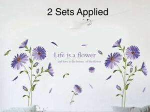 "NEW 60"" x 34"" Purple Daisies Flower Bouquet w/ Petals Vinyl Wall Mural Decals"