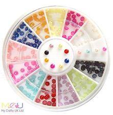 Color acabado perlado de 2 mm para Arte en Uñas Decoraciones de 3D - 12 Colores
