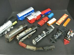 Vintage train lot estate lot of trains boxcars metal plastic rubber windup train