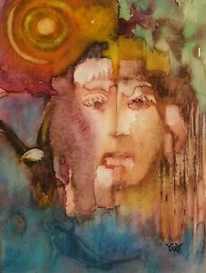 YARY DLUHOS WATERCOLOR Expressionist Abstract Native American Original Painting