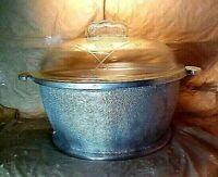 """GUARDIAN SERVICE WARE Round Casserole 12"""" Handle to Handle & Glass Lid VINTAGE"""