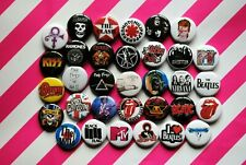 Punk Rock Band Buttons Pins Classic 80s 90s Music 1 Inch Badge Lot 33 Mtv resale