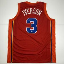 Autographed/Signed ALLEN IVERSON Syracuse Nationals Nats Red Jersey PSA/DNA COA