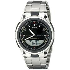 Casio Men's Analog-Digital 30-Page Databank Stainless Steel Watch AW80D-1AV