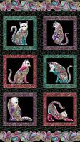 "Cats fabric Panel Cat it tude Cotton Quilting Fabric Panel 24"" x 44"" Benartex"