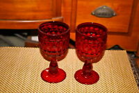 Vintage Ruby Red Glass Wine Goblet Drinking Glass-Pair-Thick Glass