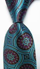 New Geometric Dot Sea Blue Purple Brown JACQUARD WOVEN Silk Men's Tie Necktie