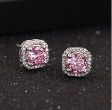 925 Sterling Silver Solitaire Square Pink Cubic Zirconia Stud Earrings Gift S1
