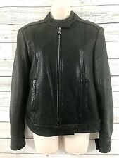 J Percy for Marvin Richards Womans black Leather Jacket Size Med Moto